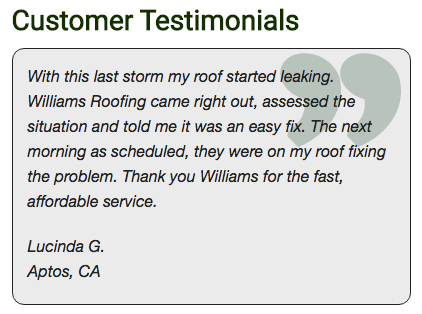 An example of Williams Roofing testimonials.
